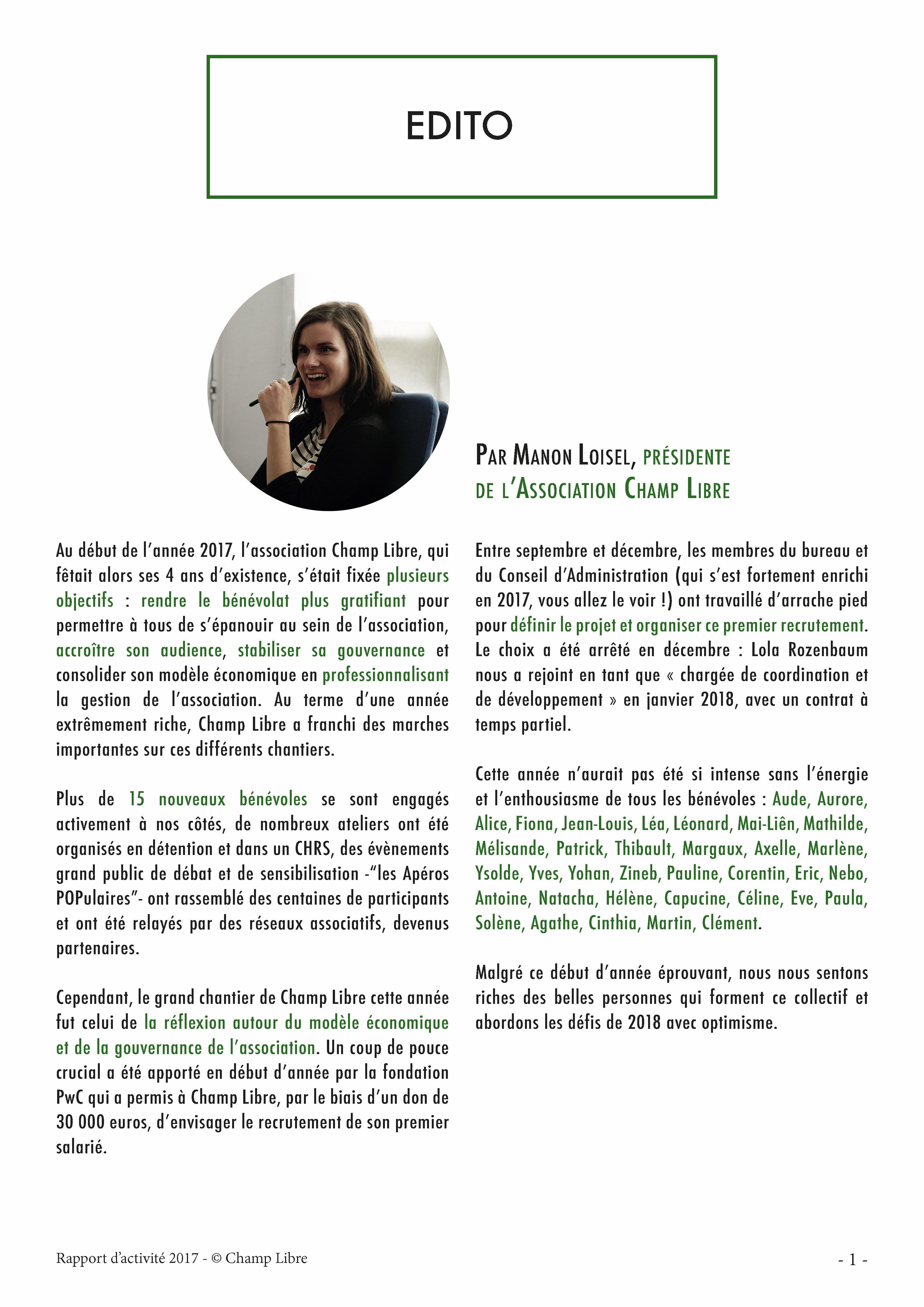 Edito, Manon Loisel, présidente